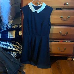 Navy dress with pearl collar